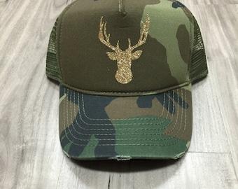 Glitter Deer Head Trucker Distressed Camo Hat Mesh Camping Desert Riding Country Women's
