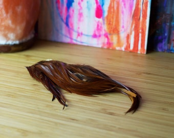 Rooster Feather Saddle - Natural Brown Feathers (100 feathers)
