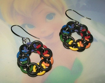 Black and Rainbow Chainmaille Earrings