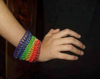 Rainbow Chainmaille Wristband Cuff