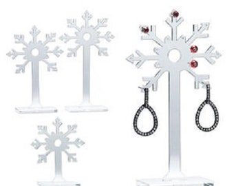 Set of 3 Clear frosted acrylic Earring Display Stands, Snowflake NEW