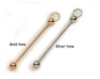 1 European Add a Bead Pendant, Earring Charm or 2.5 inch- Key chain Silver or Gold tone