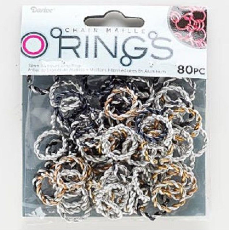 Jumprings- Twisted- Mixed Gunmetal 10mm and 18mm Aluminum Jump Maille Rings BlackSilver