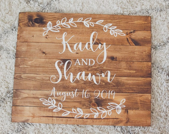 Custom his and hers wedding sign, wedding decor, bride and groom, wedding date, wood sign, wooden decor, real wood, floral, guestbook, gift