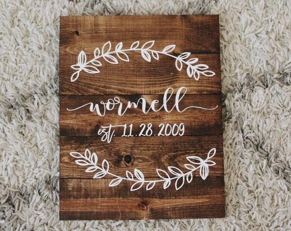 Last name wood sign, wedding gift, last name established family sign, family name, wooden last name family sign, ANY COLORS, custom family