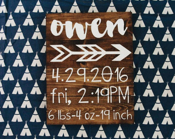 Newborn stats sign, baby stats sign, nursery sign, baby shower gift, baby print, gift, custom sign, baby sign, boy, girl, custom wood sign