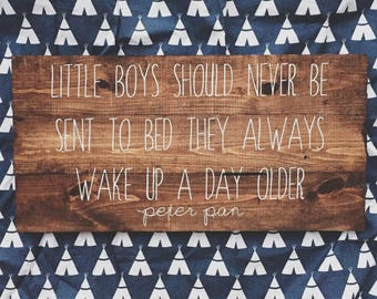 Little boys should never be sent to be sent to bed, Peter Pan quote, wooden sign, pallet wood sign, nursery gift, baby shower, boy decor