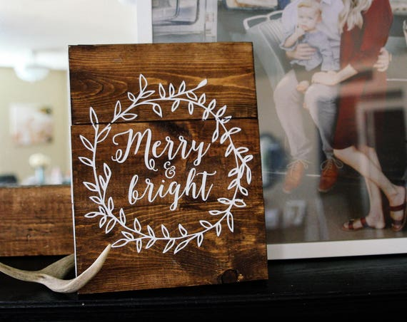 Christmas Merry and Bright wood sign, print, hand lettered, wreath, Christmas decor, farmhouse, rustic decor, Christmas sign, Happy Holidays