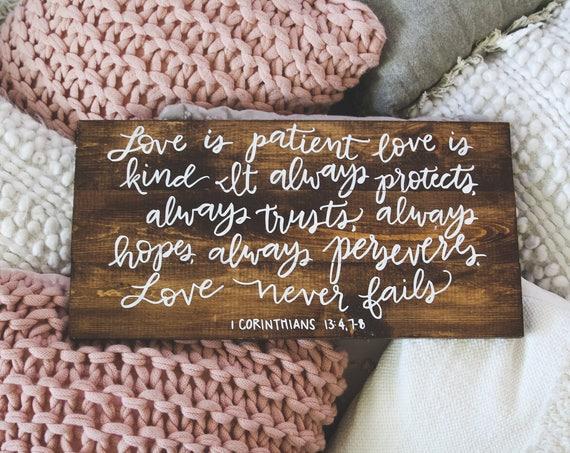 Love is patient love is kind wood sign, 1 Corinthians 13: 4-8, Scripture Wood Sign, Bible Verse, scripture print, Wedding Gift, marriage