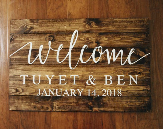 Welcome to our wedding sign, wedding decor, rustic wedding, welcome, wedding gift, bridal shower, bridesmaid, name and date sign, elegant