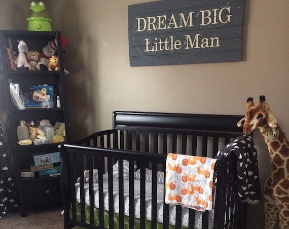 Dream big little man nursery pallet wood sign with or without splatters, gray baby decoration, newborn gift, baby shower present, wood sign