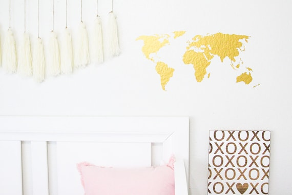 Vinyl world map, multiple colors, wall art display, cute trendy world map, wall decal, wall sticker, home decor, office wall art, gift