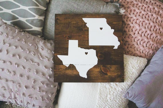 His Hers & Theirs personalized State / country wood sign (two states/countries), state sign, home state sign, any state, wooden home sign
