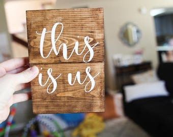 This is us wood sign, family home decor, gallery wall, house warming gift, new home, his and hers, I love us, wood sign, pallet wooden sign