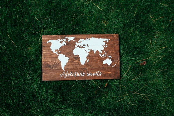 Large world map with custom quote, wooden world map, pallet map sign, rustic, vintage home decor, travel decor, huge world map, wedding gift