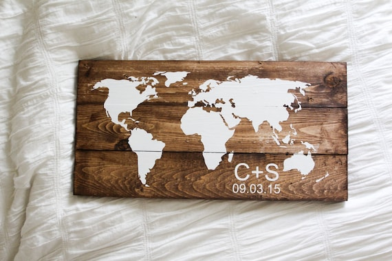 Customized LARGE World map wood sign pallet decoration for the home, his and her decor, wedding guestbook, wedding gift, initial custom sign