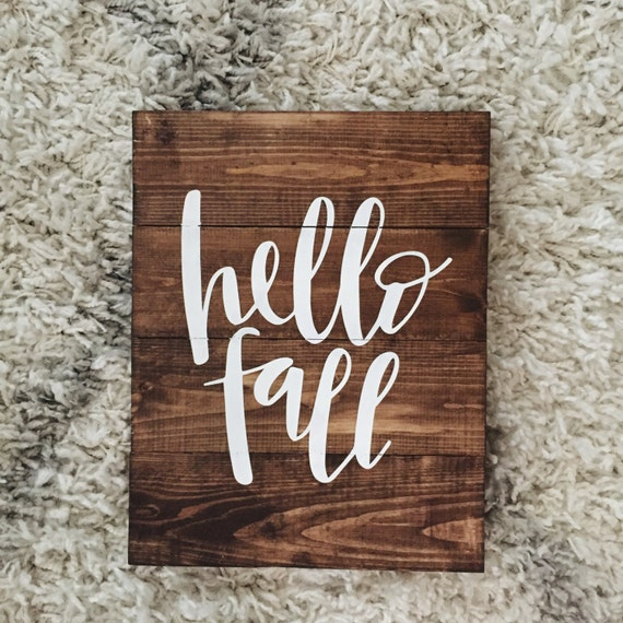 Hello Fall wood sign, fall, Halloween, Thanksgiving, leaves, cute fall print, wooden decor, wall hanging, hand lettering,