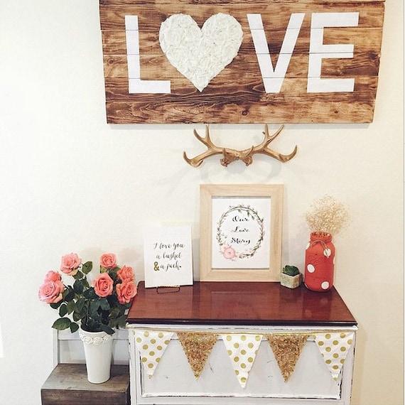 LOVE pallet wood sign with rosette, flowers, cursive, custom, wedding, anniversary, bride, bridesmaid, nursery, home decor, large, medium