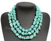 Multi Strand Turquoise Necklace,Irregular Rock Turquoise Necklace,Irregular Stone Necklace