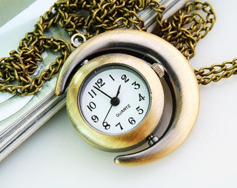 1pcs Antique Bronze  Moon  Watch Charms Pendant with chain