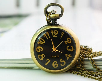 1pcs Antique Bronze   Watch Charms Pendant with chain ty146271