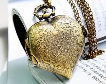 1pcs Antique Bronze   Loving Watch Charms Pendant with chain Heart-shaped Watch Charms Pendant