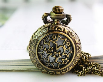 SALL 1pcs Antique Bronze   Watch Charms Pendant with chain ty146585