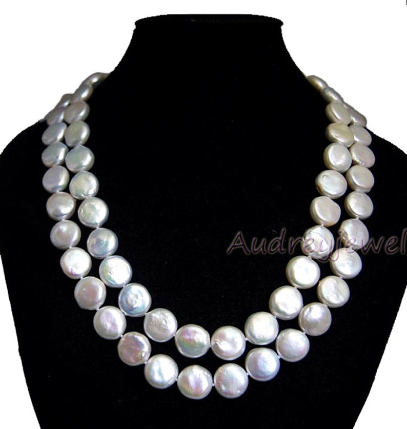 fd84fc99e8344 Baroque pearls Coin pearl necklace , bridal necklace, wedding pearl  necklace, freshwater pearl necklace, double strand necklace