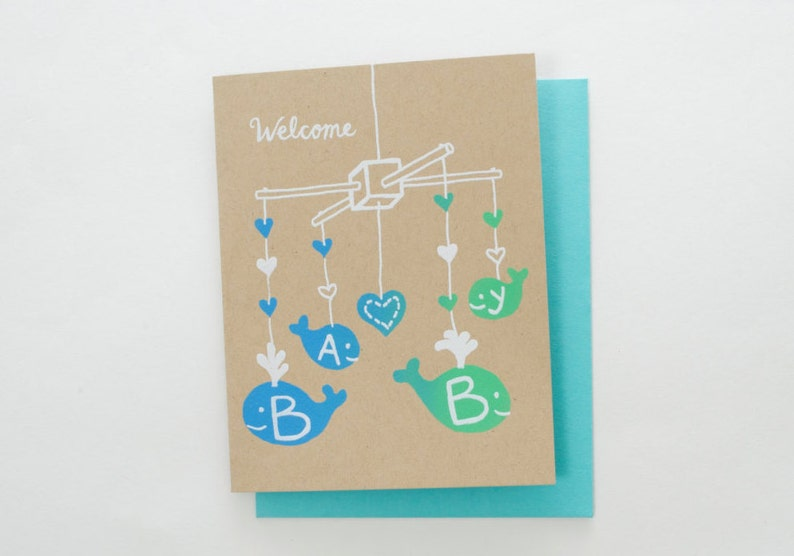 new baby screen print card Welcome Baby