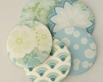 Pocket Mirror - Maiko Blossom - blues & greens