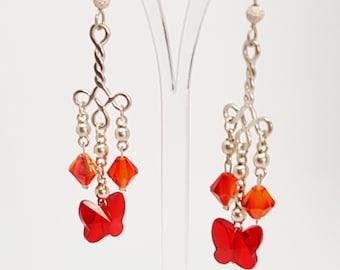 Butterfly Earrings Butterfly Jewelry Swarovski Crystal Earrings Swarovski Earrings Silver Earrings Fireopal Earrings Dangle Earrings