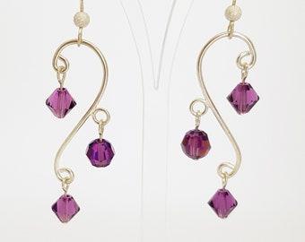 Amethyst Earrings Purple Earrings Chandelier Earrings Wave Earrings Drop Earrings Crystal Earrings Silver Earrings Gift for her Unique Gifts