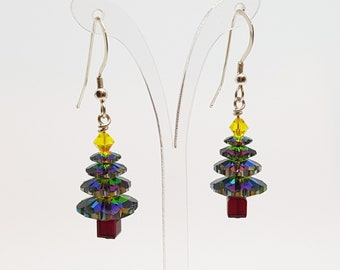Christmas Earrings Christmas Tree Earrings Christmas Gift for her Holiday Earrings Crystal Earrings Xmas Tree Earrings Xmas Earrings