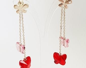 Butterfly Earrings Butterfly Studs Pink Earrings Chandelier Earrings Drop Earrings Red Earrings Silver Earrings