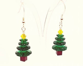 Christmas Tree Earrings Christmas earrings crystal earrings Green Earrings Festive Earrings Xmas Earring Xmas Tree Earrings Holiday Earrings