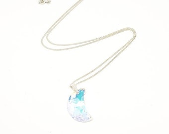 Swarovski Crystal Moon Necklace Swarovski Necklace Silver Necklace Moon Pendant Swarovski Crystal Necklace Crystal Jewelry Swarovski Jewelry