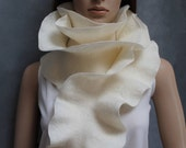 Handmade felted Long ruffle scarf - White - Ivory - Milky - Made to order
