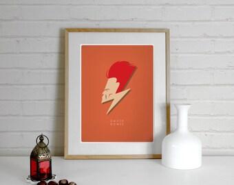 David Bowie Poster Print, Ziggy Stardust, A4 Art Prints, Band Posters, Illustration, Art Prints, Music Prints, Wall Prints, minimal print