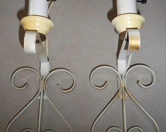 Vintage Pair Of Wrought Iron Wall Lamps
