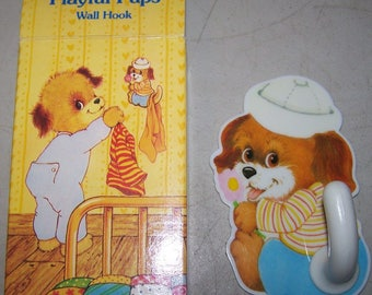 Vintage Avon Playful Pups Wall Hook - 1981
