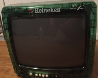 """Vintage Highly Collectible Heineken 13"""" See Through Color TV"""