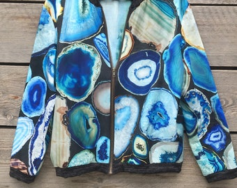 NEW! geode blue print cotton silk bomber, made in FRANCE