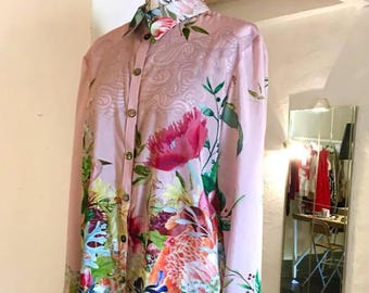 pink bouquet shirt dress; custom made to order, shirts or shirt dress. cotton silk fabric light weight.