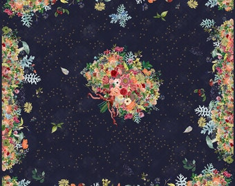 soft wool silk large scarf floral theme with stars and navy; 140CM X 140CM frayed edges