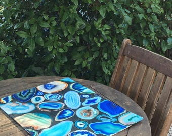 Geode agate blue charcoal placemats