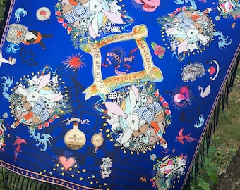 Royal blue rabbit tattoo silk scarf