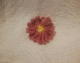 pink flower Barrette 2 1/2 inch long