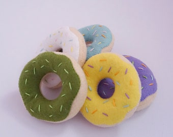 5 Felt donuts pretend play felt food