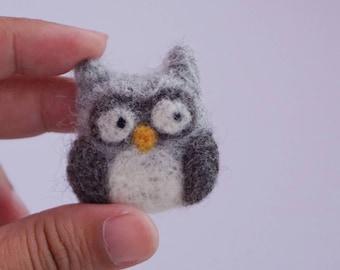 Needle felt owl brooch