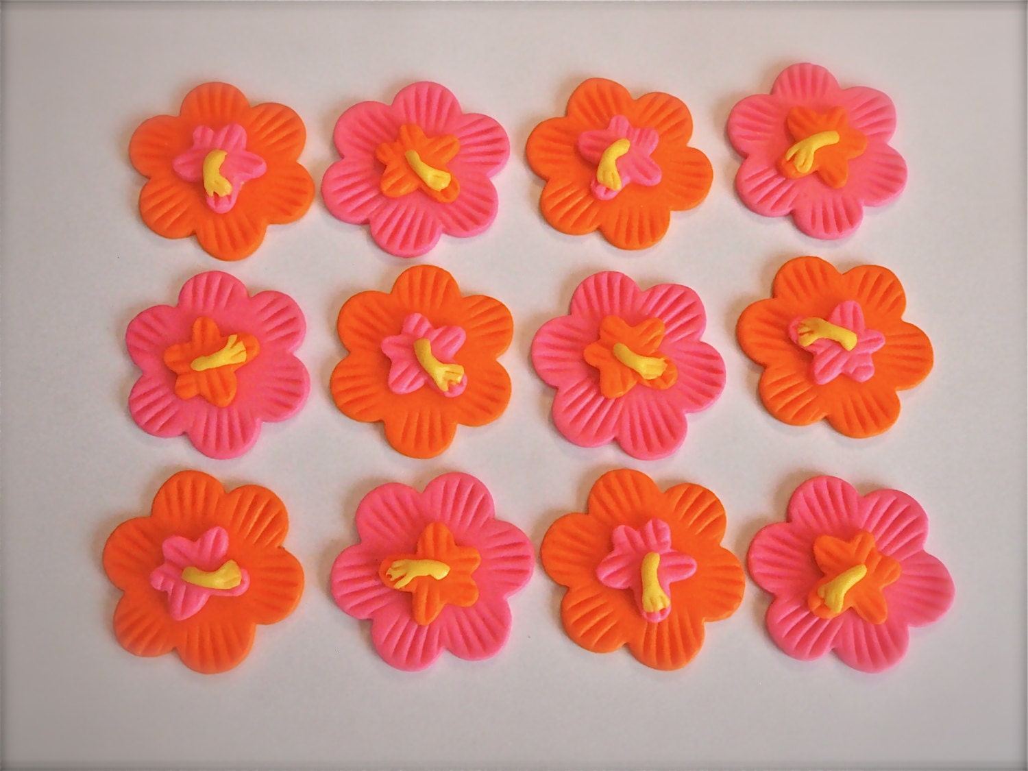 Tropical Hibiscus Flower Fondant Cupcake Topper Decoration Etsy
